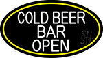 White Cold Beer Bar Open Oval With Yellow Border LED Neon Sign