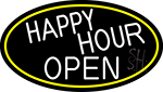 White Happy Hour Open Oval With Yellow Border Neon Sign