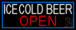 White Ice Cold Beer Open With Blue Border LED Neon Sign