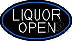 White Liquor Open Oval With Blue Border Neon Sign
