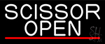 White Scissor Open With Red Line Neon Sign
