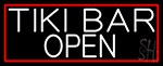 White Tiki Bar Open With Red Border LED Neon Sign