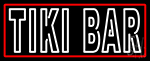 White Tiki Bar With Red Border LED Neon Sign