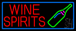 Wine Spirits With Blue Border LED Neon Sign