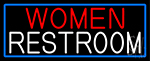 Women Restroom With Blue Border Neon Sign