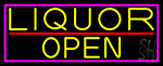 Yellow Liquor Open With Pink Border Neon Sign