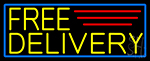 Yellow Free Delivery With Blue Border LED Neon Sign