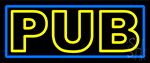 Yellow Pub With Blue Border LED Neon Sign