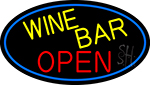 Yellow Wine Bar Open Oval With Blue Border LED Neon Sign