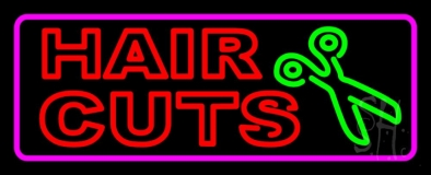 Red Double Stroke Hair Cut With Scissor LED Neon Sign
