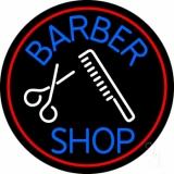 Round Barber Shop Logo LED Neon Sign