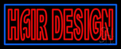 Hair Design With Blue Border LED Neon Sign