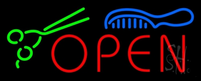 Open With Scissor and Comb LED Neon Sign