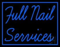 Blue Full Nail Services LED Neon Sign