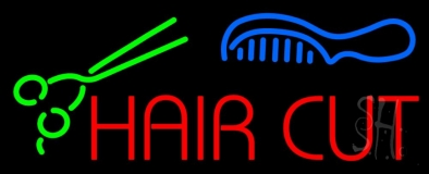 Hair Cut With Scissor And Comb LED Neon Sign