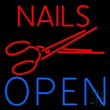Nails Open With Scissors LED Neon Sign