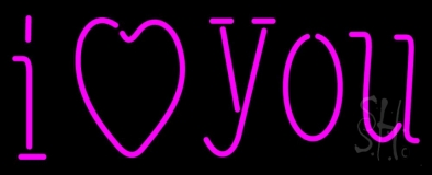 Pink I Love You Neon Sign