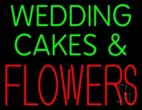 Green Wedding Cakes And Red Flowers LED Neon Sign