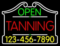 Open Tanning With Phone Number LED Neon Sign