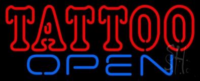 Double Stroke Tattoo Open Neon Sign