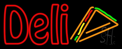 Red Deli With Slice LED Neon Sign
