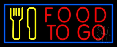 Red Food To Go With Fork And Knife LED Neon Sign