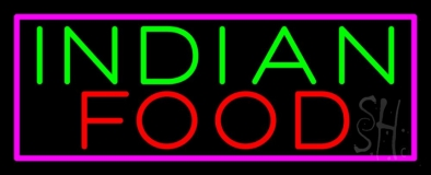 Indian Food with Pink Border LED Neon Sign