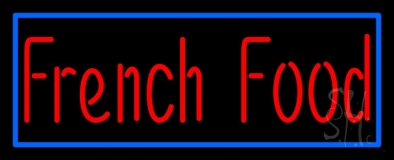 Red French Food Blue Border LED Neon Sign
