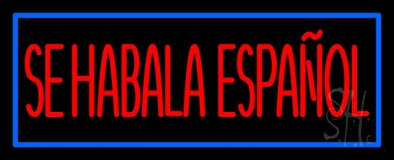 Red Se Habla Espanol With Blue Border LED Neon Sign
