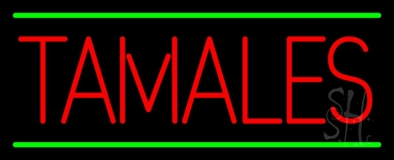 Red Tamales Green Lines LED Neon Sign