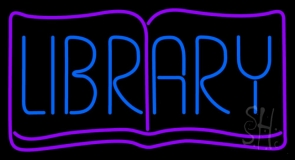 Blue Library LED Neon Sign
