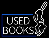 Used Books With Rabbit Logo LED Neon Sign