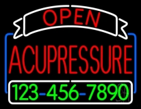 Red Acupressure With Phone Number LED Neon Sign