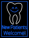 New Patients With Tooth Logo LED Neon Sign