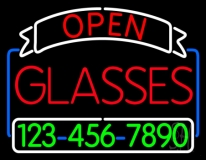 Open Glasses With Number LED Neon Sign