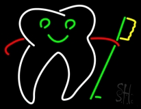 Tooth With Brush Logo LED Neon Sign