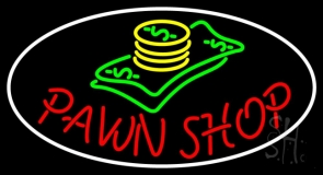Oval Pawn Shop LED Neon Sign