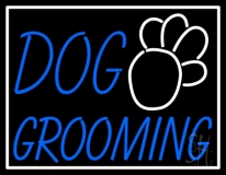 Blue Dog Grooming White Border LED Neon Sign