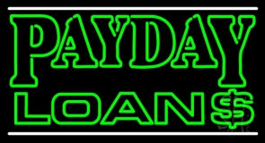 Double Stroke Payday Loans With Dollar Logo LED Neon Sign