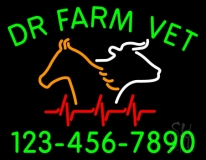 Dr Farm Vet With Number LED Neon Sign