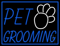 Pet Grooming Blue Border LED Neon Sign