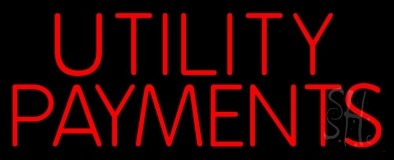 Red Utility Payments LED Neon Sign