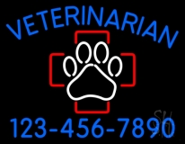 Veterinarian With Phone Number LED Neon Sign
