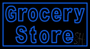 Blue Grocery Store LED Neon Sign