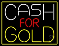Cash For Gold Yellow Border LED Neon Sign