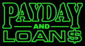 Green Payday And Loans 1 LED Neon Sign