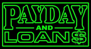 Green Payday And Loans LED Neon Sign