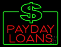 Red Payday Loans With Dollar Logo LED Neon Sign