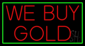 We Buy Gold Green Border LED Neon Sign