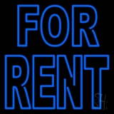 Double Stroke Blue For Rent Neon Sign